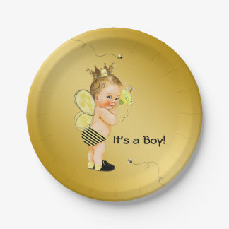 Boys Bee Baby Shower Paper Plate