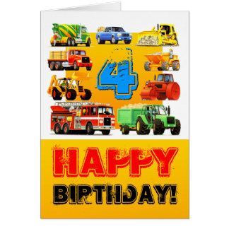 Boy's Big Construction Truck 4th Birthday Card