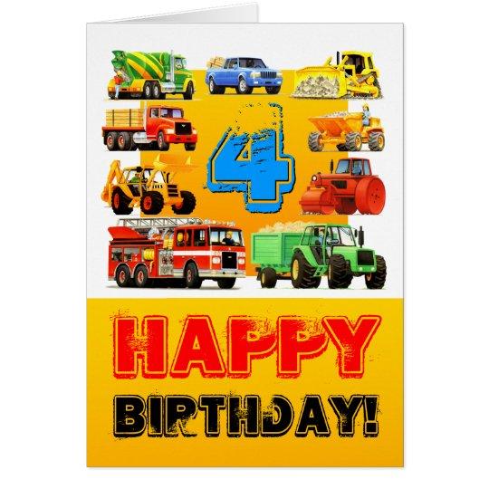 Boy's Big Construction Truck 4th Birthday Card