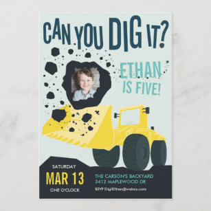 Boys Birthday Construction Truck Blue Yellow Invitation