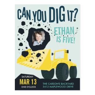 Boys Birthday Construction Truck Blue Yellow Postcard