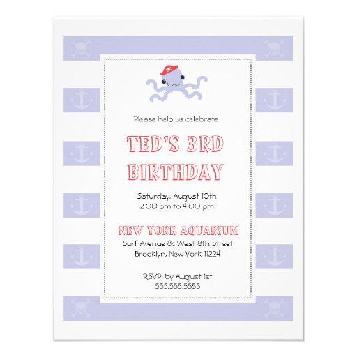 Boys Birthday Invitation - Pirate Octopus