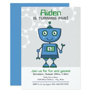 Boy's Birthday Party Invitation | Blue Robot
