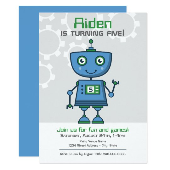 Boy's Birthday Party Invitation | Blue Robot