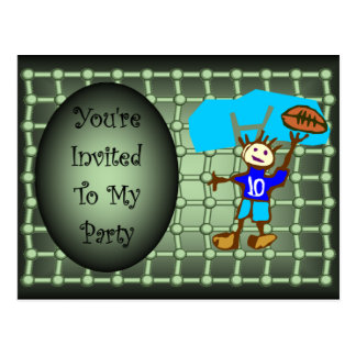 Boys Birthday Party Invitation ~ Green ~ Black ~ Postcard