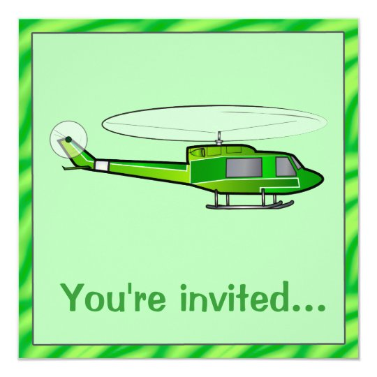 Boy's Birthday Party invitation with Helicopter