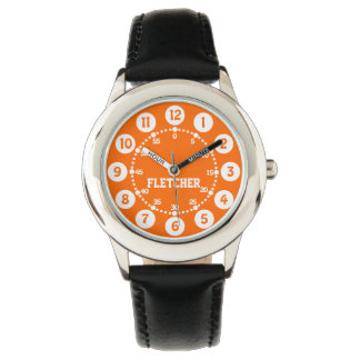 Boys black orange and white name wrist watch