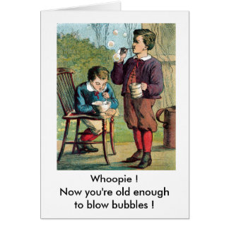 Boys Blowing Bubbles Greeting Card