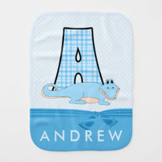Boys Blue Alligator in Plaid with Monogram Burp Cloth