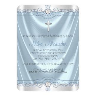 Boys Blue and Silver Baptism Christening 11 Cm X 16 Cm Invitation Card