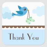 Boys blue bird baby shower thank you stickers