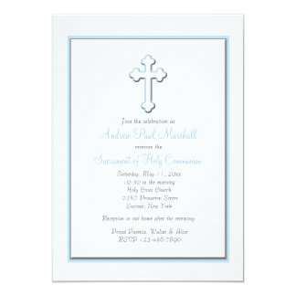Boy's Blue Cross Religious Invitation