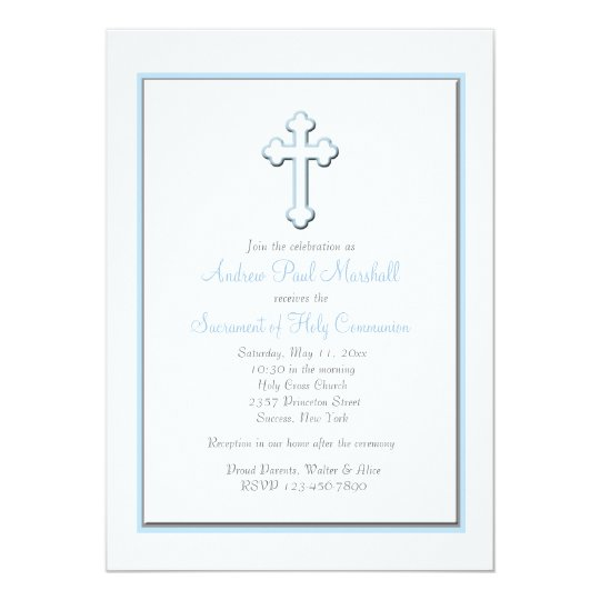 Boy's Blue Cross Religious Invitation