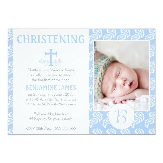 Boys Blue Paisley Baptism Christening Invitation