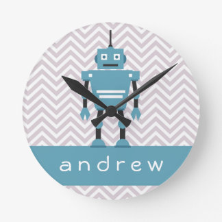 Boys Blue Robot Personalized Clock
