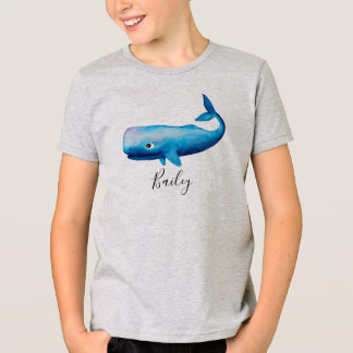 Boy's Blue Sea Watercolor Whale Beach with Name T-Shirt