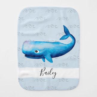 Boy's Blue Sea Watercolor Whale Waves Beach Name Burp Cloth