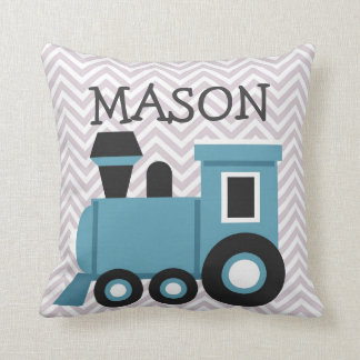 Boys Blue Train Personalized Pillow