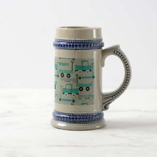 Boys Blue Wheels Retro Scooters Cars Wagons Trucks Beer Stein