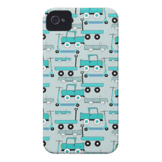 Boys Blue Wheels Retro Scooters Cars Wagons Trucks Case-Mate iPhone 4 Cases