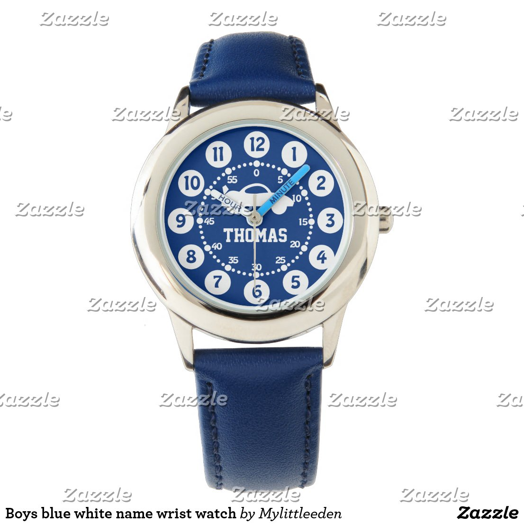 Boys blue white name wrist watch