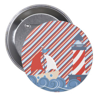 Boys Boat and Lighthouse Button 3 Inch Round Button
