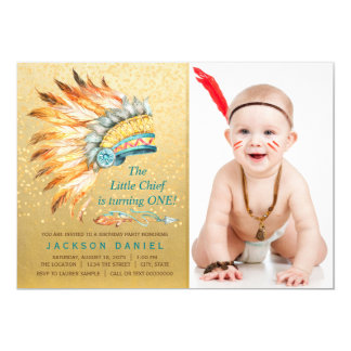 Boys Boho Birthday Party Tribal 13 Cm X 18 Cm Invitation Card