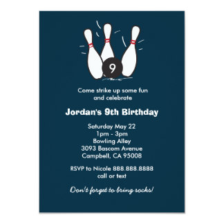 Boy's Bowling Birthday Party Card