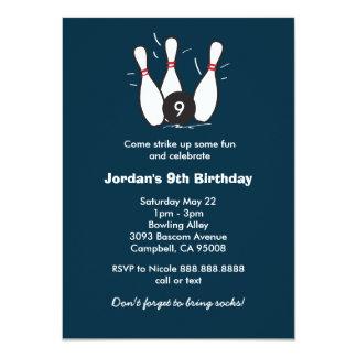 Boy's Bowling Birthday Party 11 Cm X 16 Cm Invitation Card