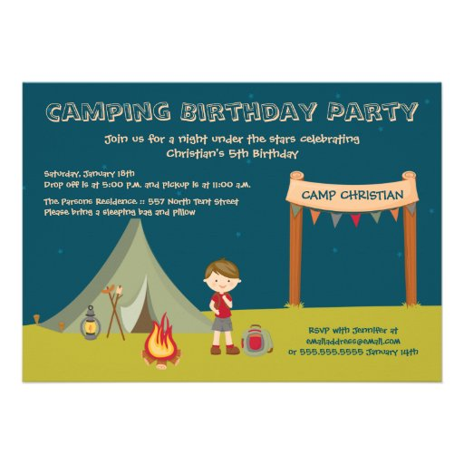 Boy's camping birthday party invitations