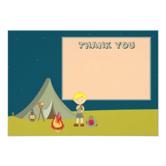 Boy's camping birthday party thank you flat cards