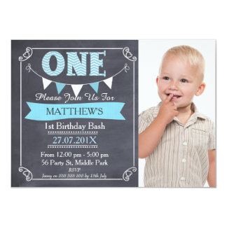 Boys Chalkboard Bunting 1st Birthday Invitation