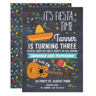 Boys Chalkboard Fiesta Birthday Invitation