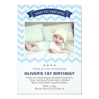 Boys chevron birthday thank you card