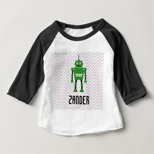 Boys Chevron Personalised Green Robot Baby T-Shirt