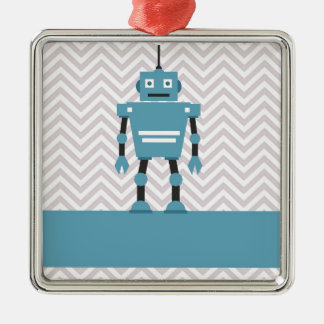 Boy's Chevron Personalized Blue Robot Christmas Ornament