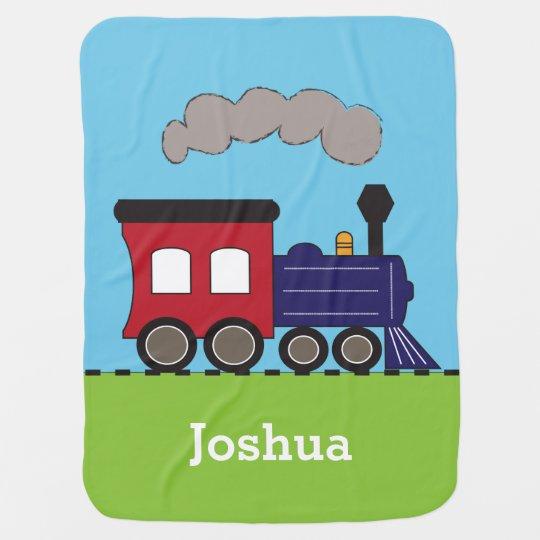 Boy's Choo Choo Train Personalised Baby Blanket
