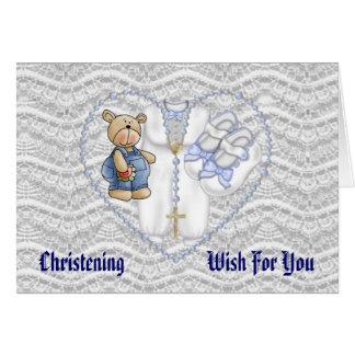 Boys Christening Bear Greeting Card