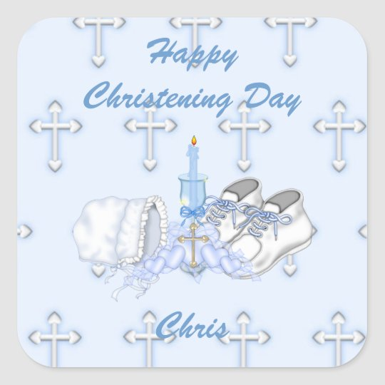 Boys Christening Wish Square Sticker