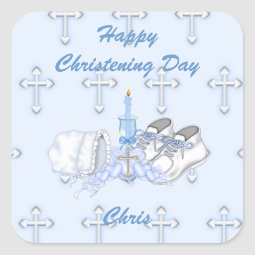 Boys Christening Wish Square Stickers