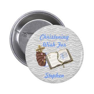 Boys Christenings Book 6 Cm Round Badge