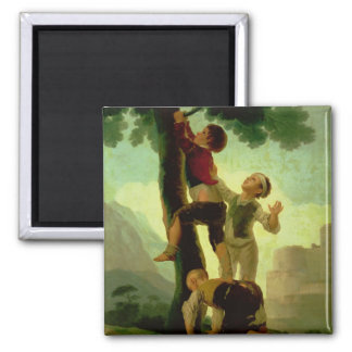 Boys Climbing a Tree, cartoon for a tapestry Square Magnet