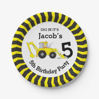 Boys construction birthday customized paper plate