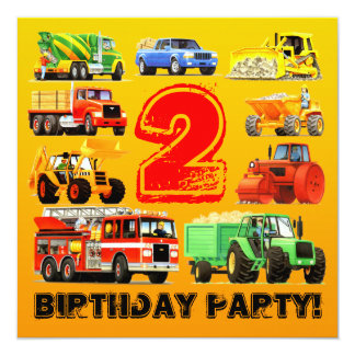 Boy's Construction Truck 2nd Birthday Party Card