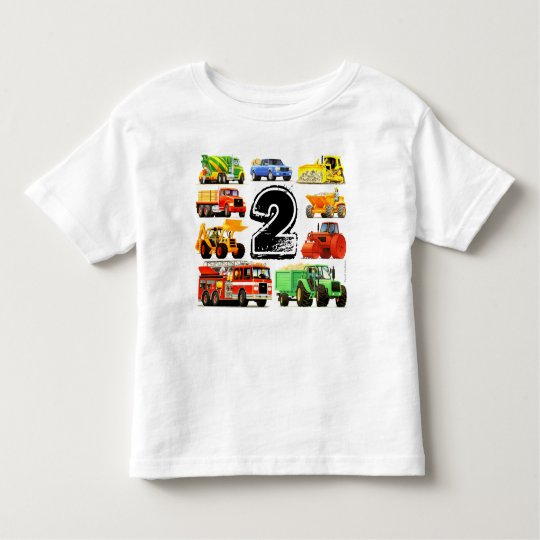 Boy's Construction Truck 2nd Birthday Toddler T-Shirt