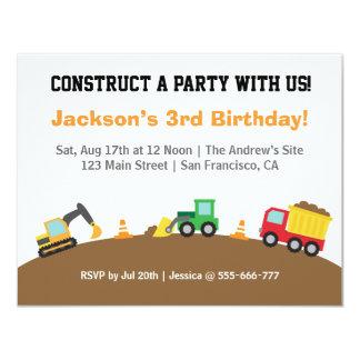 "Boys Construction Vehicles Theme Birthday Party 4.25"" X 5.5"" Invitation Card"