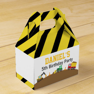 Boys Construction Vehicles Theme Birthday Party Wedding Favour Box