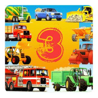 Boy's Custom 3rd Birthday Construction Truck Party Card