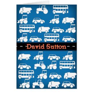 Boys Custom Birthday Card with Cars Lorrys Bus