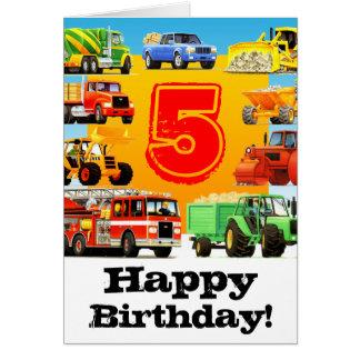 Boy's Custom Construction Truck Happy 5th Birthday Card